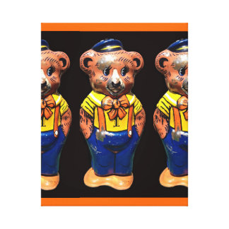 Winsome Windup Teddy Bear Stretched Canvas Print