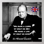 Winston Churchill - A Living vs A Life Poster