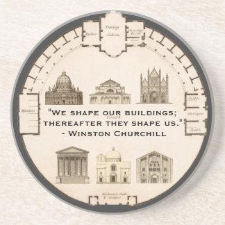 Winston Churchill Architecture John Plaw Vintage Coaster
