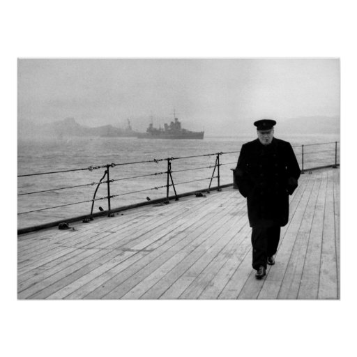 Winston Churchill At Sea Poster