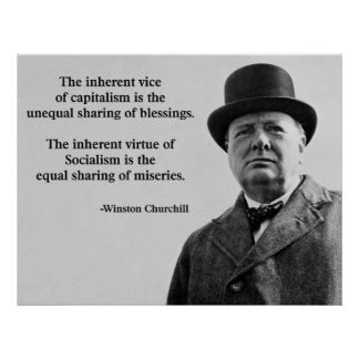 Winston Churchill Capitalism Quote Poster