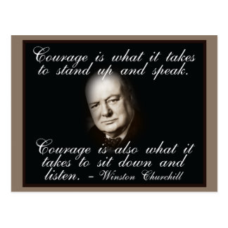 Winston Churchill on Courage quote postcard