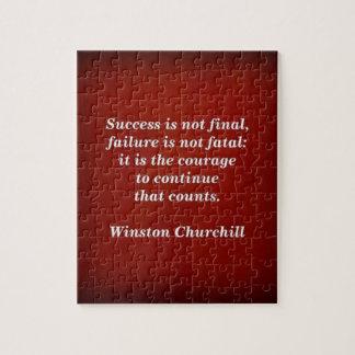 Winston Churchill Quote; Success Jigsaw Puzzle