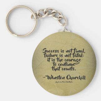 Winston Churchill Quote; Success Keychain