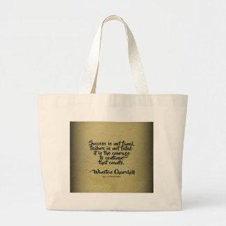 Winston Churchill Quote; Success Large Tote Bag