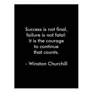 Winston Churchill Quote; Success Postcard