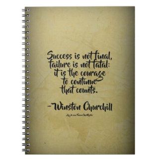 Winston Churchill Quote; Success Spiral Notebook