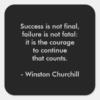 Winston Churchill Quote; Success Square Sticker