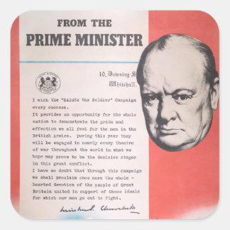Winston Churchill, Reprint of British WW2 poster Square Sticker