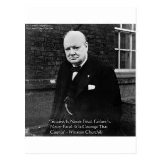 "Winston Churchill ""Success Never Final"" Gifts Postcard"