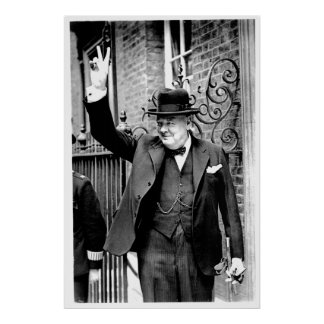 Winston Churchill, V for Victory Poster
