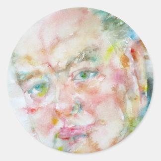 winston churchill - watercolor portrait.2 classic round sticker