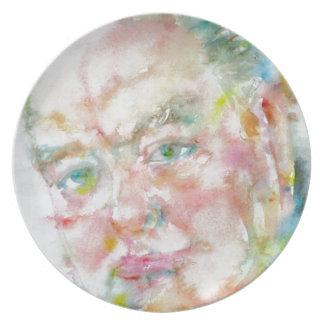 winston churchill - watercolor portrait.2 plate