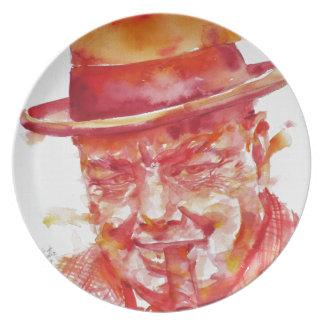 winston churchill - watercolor portrait plate