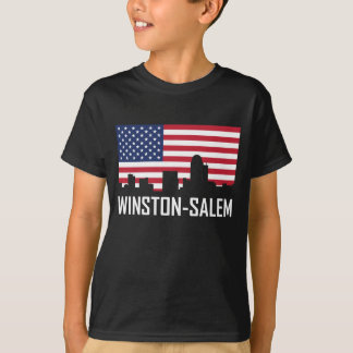 Winston-Salem North Carolina Skyline American Flag T-Shirt