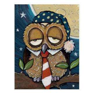 Winston | Sleepy Business Owl Art Postcard