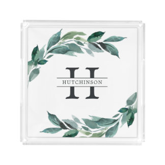 Winter Abundance | Holiday Monogram Acrylic Tray