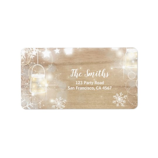 Winter Address Label snowflakes Rustic lights Wood