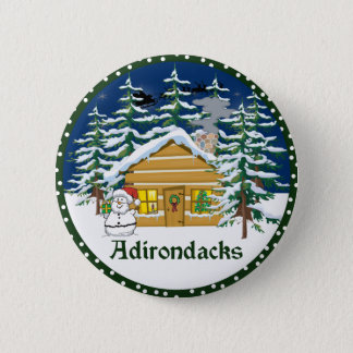 Winter Adirondack Mountain Cabin 2 Inch Round Button