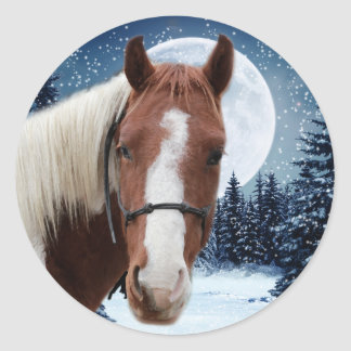 Winter American Paint Horse Round Sticker