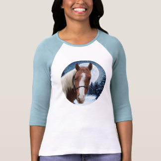 Winter American Paint Horse Tee Shirts