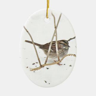 Winter and the Sparrow Ceramic Ornament