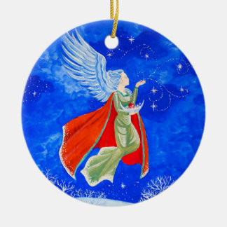 Winter Angel Ceramic Ornament