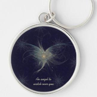 Winter Angel Fractal Art Keychain