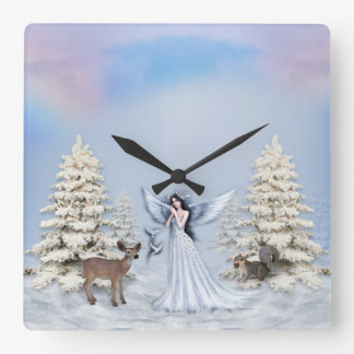 Winter Angel Round or Square Wall Clock