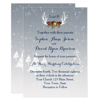Winter Antlers Boho Wedding Invitation