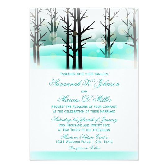 Winter Aqua Woodland Trees Wedding Invitations
