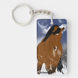 Winter Arabian Horse Single-Sided Rectangular Acrylic Keychain