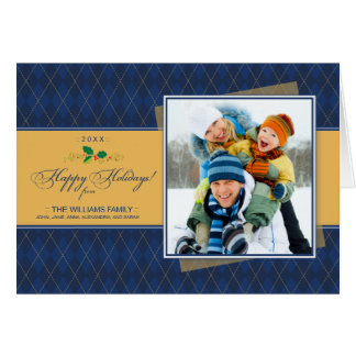 Winter Argyle Happy Holidays Card (navy)