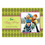 Winter Argyle Happy Holidays Flat Card (lime)