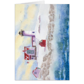 winter at Nubble LIghthouse in Maine Card