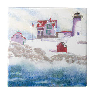 winter at Nubble LIghthouse in Maine Ceramic Tile