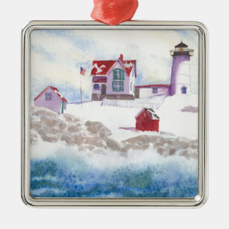 winter at Nubble LIghthouse in Maine Metal Ornament