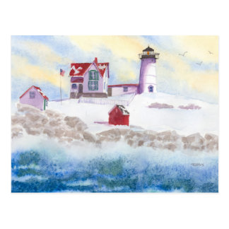 winter at Nubble LIghthouse in Maine Post Card