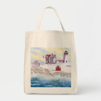 winter at Nubble LIghthouse in Maine Tote Bag