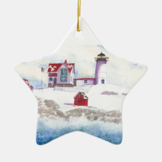 winter at Nubble LIghthouse  Maine Star Ornament