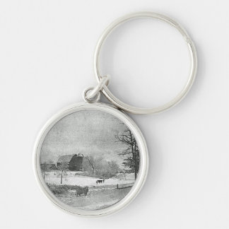 Winter at the Farm Silver-Colored Round Keychain