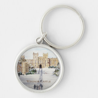 Winter at Windsor Castle Landscape Painting Keychain