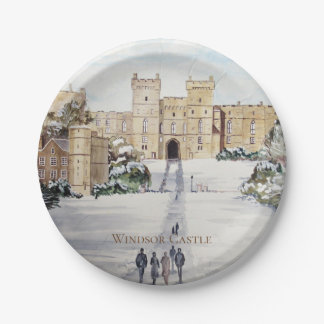 Winter at Windsor Castle Landscape Painting Paper Plate