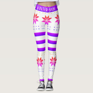 Winter Babe Snowflake Rainbow Leggings