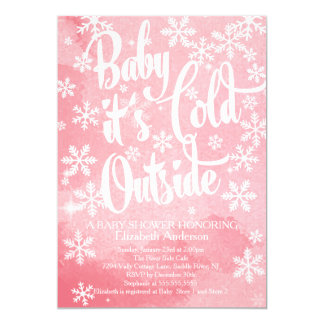 "Winter Baby It's Cold Outside Girls Baby Shower 5"" X 7"" Invitation Card"