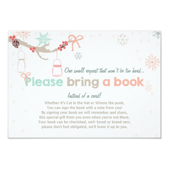 Winter Baby Shower Bring a book Cold outside jars Card