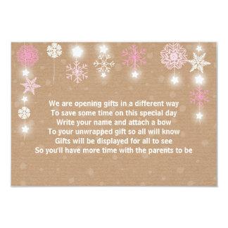 Winter Baby Shower Gift Poem card Pink Girl
