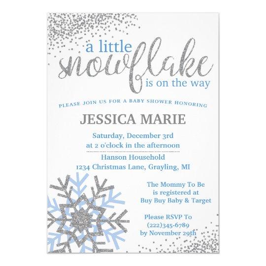 winter baby shower invitation blue snowflake zazzle