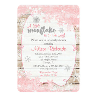 winter baby shower invitation pink and silver