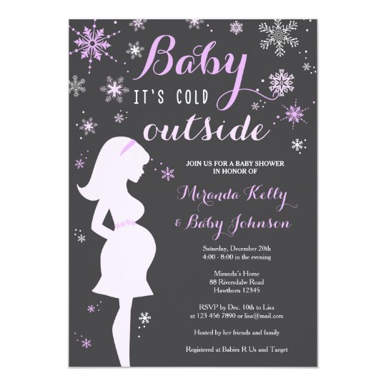 Winter Baby Shower Invitation, Purple Baby Shower Card